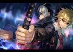 2boys ahoge back-to-back black_hair blonde_hair coat dagger hair_between_eyes highres holding holding_dagger holding_knife holding_sword holding_weapon hyde_(under_night_in-birth) knife male_focus multicolored_hair multiple_boys necktie qitoli red_eyes rivalry school_uniform seth_(under_night_in-birth) short_hair smile sword two-tone_hair under_night_in-birth weapon white_hair