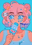 1girl artist_name bangs blue_background blue_eyes covered_mouth crescent crescent_hair_ornament eyebrows_visible_through_hair food hair_ornament hairclip holding holding_food meyoco original pink_hair popsicle portrait ramune simple_background solo sparkle star tears
