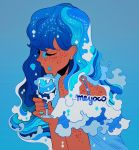1girl artist_name bare_shoulders blue_background blue_hair blue_nails closed_eyes constellation cup dark_skin drinking_glass ear_piercing freckles gradient liquid_hair long_hair meyoco nail_polish original piercing simple_background solo upper_body wine_glass