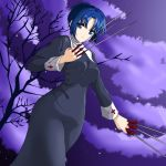 1girl bare_tree black_keys blue_hair breasts chaesu ciel collar cross dress highres holding holding_weapon knife long_sleeves looking_at_viewer medium_breasts melty_blood night nun short_hair sky solo sword tree tsukihime type-moon weapon