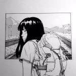 1girl backpack bag bangs black_hair long_hair original profile railroad_tracks ruwaruwa527 solo traditional_media train_station upper_body