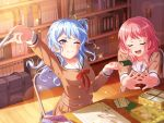 bang_dream! blue_hair blush long_hair matsubara_kanon school_uniform violet_eyes wink