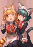2girls :d absurdres alternate_costume animal_ear_fluff animal_ears apron bangs blonde_hair blue_eyes cat_ears cat_tail commentary_request enmaided extra_ears fang fang_out green_hair highres kaban_(kemono_friends) kemono_friends kemono_friends_3 kemonomimi_mode long_sleeves looking_at_another maid maid_headdress multiple_girls open_mouth serval_(kemono_friends) serval_ears serval_tail short_hair signature simple_background skin_fang smile striped striped_background striped_tail tail vertical-striped_background vertical_stripes waist_apron welt_(kinsei_koutenkyoku) yellow_eyes