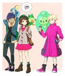 1girl 2boys animal animal_on_shoulder backpack bag bangs beet_(pokemon) blonde_hair blue_jacket brown_eyes brown_footwear brown_hair cardigan dark_skin dark_skinned_male female_protagonist_(pokemon_swsh) fur_trim gen_5_pokemon gen_8_pokemon green_headwear green_legwear grey_cardigan grookey hat hinata_(ryohinata) holding holding_poke_ball hop_(pokemon) jacket long_sleeves looking_at_another multiple_boys pants pink_jacket plaid plaid_legwear poke_ball pokemon pokemon_(creature) pokemon_(game) pokemon_swsh pokemon_trainer pouch reuniclus shoes short_hair simple_background smile sobble socks standing tam_o'_shanter thought_bubble white_legwear wooloo