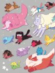 :3 afro amethyst_(steven_universe) animal animalization blue_ribbon cat closed_eyes closed_mouth clothed_animal connie_maheswaran dog fenman forehead_jewel garnet_(steven_universe) glasses greg_universe grey_background jasper_(steven_universe) jewelry jitome lapis_lazuli_(steven_universe) necklace no_humans opal_(steven_universe) open_mouth pearl_(steven_universe) pendant peridot_(steven_universe) ribbon riding rose_quartz_universe ruby_(steven_universe) running sapphire_(steven_universe) sash shirt smug star steven_quartz_universe steven_universe sunglasses t-shirt yellow_pearl_(steven_universe)