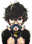 1boy amamiya_ren animal black-framed_eyewear black_hair blue_eyes cat collar eyebrows_visible_through_hair fangs highres himukai_yuuji holding holding_animal holding_cat jewelry male_focus messy_hair morgana_(persona_5) necklace paws persona persona_5 persona_5_the_royal shuujin_academy_uniform simple_background upper_body white_background
