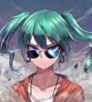 1girl alternate_costume blue_eyes chunk-san dust earrings frown green_hair hatsune_miku highres hoop_earrings jacket jewelry looking_at_viewer looking_over_eyewear portrait red_jacket shirt solo suna_no_wakusei_(vocaloid) sunglasses tsurime twintails vocaloid white_shirt wind zipper