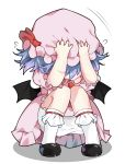 1girl ascot bat_wings black_footwear bloomers blue_hair blush bobby_socks bow chibi commentary cowering diokira dress flying_sweatdrops hands_on_headwear hands_up hat hat_bow highres mob_cap pink_dress pink_headwear puffy_short_sleeves puffy_sleeves red_bow red_neckwear remilia_scarlet revision scared shoes short_hair short_sleeves simple_background socks solo squatting team_shanghai_alice touhou underwear vampire white_background white_bloomers white_legwear wings