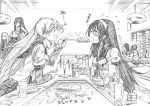 6+girls absurdres akagi_(kantai_collection) akashi_(kantai_collection) aoki_hagane_no_arpeggio blush food glasses graphite_(medium) greyscale hair_ribbon hairband haruna_(aoki_hagane_no_arpeggio) highres iona japanese_clothes kaga_(kantai_collection) kantai_collection kojima_takeshi long_hair monochrome multiple_girls muneate okonomiyaki ooyodo_(kantai_collection) open_mouth ponytail ribbon semi-rimless_eyewear side_ponytail smile takao_(aoki_hagane_no_arpeggio) traditional_media tress_ribbon twintails very_long_hair