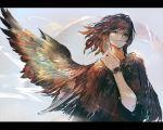 1other brown_hair closed_mouth feathered_wings klasse14 kureta_(nikogori) medium_hair original sleeves_rolled_up smile upper_body violet_eyes watch wind wings