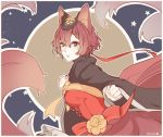 1girl animal_ears breasts clenched_hands facepaint flower fox_ears fox_tail gem hair_between_eyes hair_ornament highres lace_trim long_sleeves looking_at_viewer medium_breasts meiko outline parted_lips red_eyes red_ribbon redhead ribbon short_hair solo tail vocaloid white_outline wide_sleeves yellow_flower yen-mi