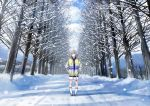 1girl blue_eyes blush closed_mouth drawstring expressionless grey_hair hands_in_pockets hood hoodie idolmaster idolmaster_shiny_colors kneehighs lamppost long_sleeves looking_at_viewer sakeharasu scenery serizawa_asahi short_hair snow snowing solo tree white_legwear