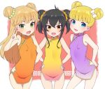 3girls :d bangs bare_shoulders black_hair blonde_hair blue_eyes blunt_bangs blush bow breasts china_dress chinese_clothes double_bun dress eyebrows_visible_through_hair fangs green_eyes hair_between_eyes hair_bow idolmaster idolmaster_cinderella_girls jougasaki_rika long_hair looking_at_viewer mary_cochran matoba_risa moyori multiple_girls open_mouth orange_dress purple_dress short_dress small_breasts smile standing v white_bow yellow_dress yellow_eyes