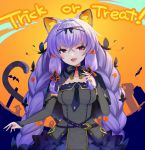 1girl animal_ear_fluff animal_ears bangs bat black_dress braid breasts bridal_gauntlets capelet cat_ears cat_tail commentary_request crossed_bangs dress english_text fang flower hair_flower hair_ornament hair_rings halloween hoshikawa_tefu hoshikawa_tefu_(vtuber) kuusou_code_plus long_hair medium_breasts open_mouth orange_background purple_hair solo strapless strapless_dress tail trick_or_treat twin_braids very_long_hair violet_eyes