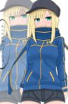 1girl :t anger_vein artoria_pendragon_(all) atsumisu bangs baseball_cap black_headwear black_shorts blonde_hair blue_jacket blue_scarf blush breasts closed_mouth commentary_request cosplay cowboy_shot eyebrows_visible_through_hair fate/grand_order fate_(series) green_eyes grin hat jacket long_hair lord_el-melloi_ii_case_files multiple_views mysterious_heroine_x mysterious_heroine_x_(cosplay) pout reines_el-melloi_archisorte scarf short_shorts shorts simple_background small_breasts smile translation_request v-shaped_eyebrows white_background wristband zoom_layer