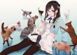 1girl animal bangs belt black_skirt blue_bow blue_jacket blue_neckwear blue_ribbon bow brown_eyes brown_hair brown_legwear cat commentary earrings feet_out_of_frame glasses gradient gradient_background hanabasami_kyou highres holding holding_animal holding_cat jacket jewelry long_hair long_sleeves looking_at_viewer morifumi neck_ribbon open_mouth pantyhose pleated_skirt re:act ribbon school_uniform shirt sitting sitting_on_floor skirt sleeves_past_wrists solo virtual_youtuber white_shirt white_skirt