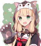 1girl aa_(sin2324) animal_hood bangs blonde_hair blush claws dog_hood fang gloves green_eyes hair_ribbon halloween halloween_costume heart hood kantai_collection long_hair neckerchief paw_gloves paws red_neckwear ribbon sailor_collar school_uniform serafuku short_sleeves solo star upper_body yuudachi_(kantai_collection)