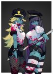 2girls absurdres aka_shiro_kiiro bangs black_gloves black_hair black_skirt blonde_hair blood blood_on_face bloody_clothes bloody_hands blue_eyes blunt_bangs fingerless_gloves fishnets gloves grey_background halloween hat highres huge_filesize injury long_hair multicolored_hair multiple_girls panty_&_stocking_with_garterbelt panty_(psg) police police_uniform purple_hair skirt smile stocking_(psg) striped striped_legwear thigh-highs tongue tongue_out torn_clothes torn_legwear two-tone_background uniform white_background zombie