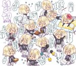 6+boys :3 ? blonde_hair chibi cup dango fang food futon higekiri_(touken_ranbu) holding holding_cup jacket_on_shoulders male_focus miniboy multiple_boys multiple_persona nishiogi obentou pants sanshoku_dango sword tea touken_ranbu uchiko wagashi weapon white_pants yunomi |_|