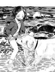 1girl beach blush closed_eyes dog greyscale hood hoodie masuda_(yousaytwosin) monochrome original outdoors short_shorts shorts smelling smelling_crotch smile solo waves