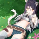 1girl animal_ear_fluff animal_ears armor bandeau bangs belt black_hair blush breasts cowboy_shot detached_sleeves eyebrows_visible_through_hair fingerless_gloves flower fur_collar fur_scarf gauntlets gloves grass hair_between_eyes hands_together kashiwazaki_shiori long_hair looking_at_viewer lying multicolored_hair navel open_mouth outdoors pleated_skirt princess_connect! princess_connect!_re:dive shadow sidelocks skirt small_breasts solo stomach tail thigh-highs tiger_ears tiger_tail white_hair white_legwear yellow_eyes yuki_(yukin0128)