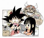 1girl 3boys :p ^_^ baby bangs beard bed bed_sheet black-framed_eyewear black_eyes black_hair blunt_bangs carrying chi-chi_(dragon_ball) closed_eyes commentary_request couple dot_nose dougi dragon_ball dragon_ball_(classic) dragon_ball_(object) eyelashes facial_hair father_and_daughter father_and_son fenyon frame glasses grandfather_and_grandson gyuu_mao happy hat height_difference hetero hime_cut indoors long_hair long_sleeves looking_at_another looking_down mother_and_son multiple_boys mustache nightstand on_bed open_mouth orange_shirt photo_(object) pillow shirt sidelocks sitting smile son_gohan son_gokuu spiky_hair standing straight_hair tongue tongue_out twitter_username under_covers wristband