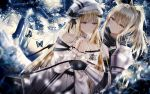 2girls absurdres animal_ears arknights armor backlighting bangs black_gloves black_scarf blonde_hair blue_eyes breastplate bug butterfly eyebrows_visible_through_hair forest gloves hair_between_eyes hair_ribbon hands_clasped hat highres horns insect junpaku_karen long_hair long_sleeves looking_at_another multiple_girls nature nearl_(arknights) nightingale_(arknights) outdoors own_hands_together pauldrons ponytail ribbed_sweater ribbon scarf short_hair sidelocks sweater tree turtleneck turtleneck_sweater upper_body white_sweater yellow_eyes