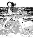 1girl beach blush closed_eyes dog greyscale hood hoodie masuda_(yousaytwosin) monochrome original outdoors running short_shorts shorts smile solo wading waves wet wet_clothes