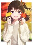 1girl :d absurdres arjent artist_name autumn autumn_leaves bangs blurry blurry_background blush brown_hair cardigan collarbone depth_of_field eyebrows_visible_through_hair ginkgo_leaf grey_shirt hair_ribbon highres holding holding_leaf leaf long_sleeves looking_at_viewer maple_leaf multicolored_hair one_side_up open_cardigan open_clothes open_mouth original outdoors outside_border purple_hair red_ribbon ribbon round_teeth shirt short_hair smile solo teeth two-tone_hair upper_body upper_teeth violet_eyes white_cardigan