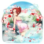 1girl arm_support bow braid floral_print flower frilled_towel hair_bow hair_intakes high_ponytail highres leaning_forward long_hair naked_towel official_art onsen open_mouth pink_towel print_towel red_eyes red_flower redhead shiny shiny_hair shoulder_blades solo sword_art_online tied_hair tiese_schtrinen towel transparent_background wading wet wet_hair white_bow