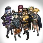 6+girls bandaid bandaid_on_nose bangs beret black_footwear black_gloves black_hair black_headwear black_legwear black_skirt blonde_hair blush cat_ear_headphones character_doll closed_eyes closed_mouth commentary_request eyebrows_visible_through_hair facial_mark girls_frontline gloves green_eyes green_hair hair_ornament hair_ribbon half_updo hat headphones highres hk416_(girls_frontline) hs2000_(girls_frontline) jacket jojogwang kneehighs long_hair long_sleeves m16a1_(girls_frontline) m4a1_(girls_frontline) multicolored_hair multiple_girls necktie open_mouth petting pleated_skirt purple_hair red_ribbon ribbon silver_hair skirt smile standing teeth thigh-highs tmp_(girls_frontline) two-tone_hair wa2000_(girls_frontline) welrod_mk2_(girls_frontline)