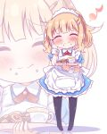 1girl ^_^ ^o^ apron blonde_hair blush chibi closed_eyes closed_mouth crumbs facing_viewer full_body hair_ornament hairclip hand_on_own_cheek highres holding holding_tray maid maid_apron maid_headdress musical_note oomuro_sakurako pantyhose puffy_short_sleeves puffy_sleeves short_hair short_sleeves smile solo takahero tray wavy_hair wrist_cuffs yuru_yuri