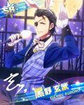 black_eyes black_hair character_name eyepatch idolmaster idolmaster_side-m jacket kurono_genbu short_hair