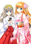 2girls absurdres alternate_costume bag bangs blonde_hair blue_eyes camera charlotte_(anime) closed_mouth eyebrows_visible_through_hair floral_print flower hair_between_eyes hair_flower hair_ornament hair_ribbon hakama handbag head_wreath highres holding holding_bag holding_camera japanese_clothes kimono long_hair miko multiple_girls na-ga nishimori_yusa pink_bag pink_flower pink_kimono print_kimono red_hakama ribbon shiny shiny_hair silver_hair simple_background smile standing tied_hair tomori_nao very_long_hair white_background white_flower white_kimono white_ribbon yellow_flower yukata