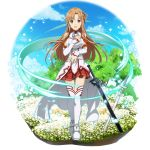 1girl asuna_(sao) braid breastplate brown_eyes brown_hair cape crown_braid detached_sleeves floating_hair full_body highres jewelry long_hair long_sleeves looking_at_viewer miniskirt open_mouth pleated_skirt red_skirt ring shiny shiny_hair skirt solo sparkle standing sword sword_art_online thigh-highs transparent_background very_long_hair waist_cape weapon wedding_ring white_cape white_legwear white_sleeves zettai_ryouiki