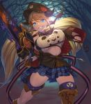 1girl blonde_hair blue_eyes breast_press breasts chainsaw draph granblue_fantasy grin gwtm2288 hallessena halloween_costume hat highres horns large_breasts long_hair low_twintails navel night plaid plaid_skirt pointy_ears skirt smile twintails