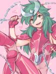 androgynous andromeda_shun armor chain green_hair long_hair looking_at_viewer male saint_seiya smile solo
