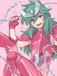 androgynous andromeda_shun armor chain green_hair long_hair looking_at_viewer male saint_seiya smile solo
