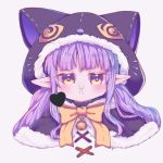 1girl :i animal_ears animal_hood bell black_capelet blush bow brown_eyes capelet cat_ears cat_hood closed_mouth commentary_request fake_animal_ears fur-trimmed_capelet fur-trimmed_hood fur_trim grey_background heart hikawa_kyoka hood hood_up hooded_capelet jingle_bell long_hair looking_at_viewer pointy_ears pout princess_connect! princess_connect!_re:dive purple_hair simple_background solo twintails yellow_bow yi_lian