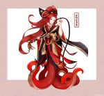 1girl absurdres chinese_clothes hair_ornament highres japanese_clothes long_hair monster_girl original red_eyes redhead tentacles user_gemh8258 very_long_hair