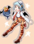 1girl alternate_costume anchor_print animal_print bat_print black_ribbon blue_hair breasts demon_wings dixie_cup_hat double_bun fangs halloween halloween_costume hat hat_ribbon highres kantai_collection knck little_blue_whale_(kantai_collection) loafers long_sleeves military_hat neckerchief orange_legwear orange_neckwear orange_shorts orange_vest ribbon samuel_b._roberts_(kantai_collection) shirt shoes short_hair short_shorts shorts small_breasts striped striped_legwear thigh-highs traditional_media watercolor_(medium) whale white_shirt wings yellow_eyes