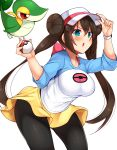 1girl adjusting_headwear aqua_eyes arm_up bangs baseball_cap black_legwear blush breasts brown_hair commentary_request cowboy_shot double_bun eyebrows_visible_through_hair gen_5_pokemon hair_between_eyes hand_up hat highres holding holding_poke_ball large_breasts leaning_forward long_hair long_sleeves mei_(pokemon) miniskirt open_mouth pantyhose poke_ball poke_ball_(generic) pokemon pokemon_(creature) pokemon_(game) pokemon_bw2 raglan_sleeves red_eyes shirt sidelocks simple_background skirt snivy standing t-shirt thighs tokoya_(ex-hetare) twintails v-shaped_eyebrows very_long_hair watch watch white_background white_headwear white_shirt yellow_skirt