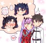 ! ... /\/\/\ 1boy 3girls black_hair blush brown_hair chaldea_uniform crown earrings facial_mark fate/grand_order fate_(series) forehead_mark fujimaru_ritsuka_(male) grey_eyes heart hoop_earrings horns ishtar_(fate/grand_order) jewelry mabo-udon multicolored_hair multiple_girls multiple_persona notice_lines pink_hair red_eyes redhead space_ishtar_(fate) speech_bubble spoken_ellipsis spoken_exclamation_mark spoken_heart star star-shaped_pupils surprised symbol-shaped_pupils two-tone_hair two_side_up yellow_eyes