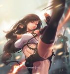 1girl bare_shoulders black_skirt breasts brown_eyes brown_hair clenched_hand earrings english_commentary fighting_stance final_fantasy final_fantasy_vii final_fantasy_vii_remake fingerless_gloves gloves jewelry kicking large_breasts long_hair low-tied_long_hair midriff mitsu_(mitsu_art) navel parted_lips pencil_skirt pink_lips shirt skirt suspender_skirt suspenders tank_top taut_clothes taut_shirt thighs tifa_lockhart upskirt