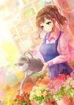 1girl apron blue_eyes blurry blurry_background brown_hair dutch_angle florist flower lens_flare long_sleeves medium_hair original pink_flower plant ponytail potted_plant scissors shelf shirt smile solo watering watering_can white_shirt yashirupe