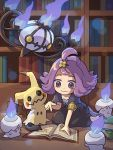 1girl :3 acerola_(pokemon) book chandelure chibi dress full_body gen_5_pokemon gen_7_pokemon hair_ornament highres indoors kneeling library litwick mimikyu open_book peron_(niki2ki884) pokemon pokemon_(game) pokemon_masters pokemon_sm purple_hair signature violet_eyes
