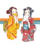 2girls black_hair blue_eyes breasts brown_hair corn cropped_legs fox_mask hair_ribbon holding holding_mask japanese_clothes kamado_nezuko kimetsu_no_yaiba kimono long_sleeves looking_at_viewer makomo_(kimetsu) mask mask_removed mouth_hold multiple_girls natsuo_(tomato116) obi pink_eyes pink_ribbon red_kimono redhead ribbon sash side_bun slit_pupils smile white_background yellow_kimono yukata