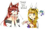 2girls :d ;o ? absurdres animal_ear_fluff animal_ears armor armored_dress artist_request bangs bare_shoulders blonde_hair blunt_bangs brooch brown_hair commentary constricted_pupils directional_arrow disembodied_limb double_bun dress english_commentary eyebrows_visible_through_hair fang hair_between_eyes hair_intakes hair_ribbon hand_up hands_up haniyasushin_keiki highres holding imaizumi_kagerou jewelry joutouguu_mayumi long_hair looking_at_another multiple_girls nail_polish off-shoulder_dress off_shoulder one_eye_closed open_mouth puffy_short_sleeves puffy_sleeves red_nails ribbon shirt short_sleeves simple_background smile spoken_question_mark sweat thank_you thick_eyebrows touhou vambraces white_background white_dress white_ribbon white_shirt wolf_ears yellow_dress yellow_eyes