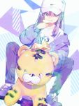 +_+ 1girl blue_eyes bread chromatic_aberration earrings eating fang food hat highres holding holding_food jacket jewelry long_hair nike original painttool_sai purple_hair riding sama shirt shoes sneakers t-shirt tiger toy white_headwear white_legwear