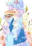 1girl ascot bangs blue_dress blue_headwear blue_neckwear blue_sash blush commentary_request cowboy_shot dress flower food frilled_shirt_collar frills hamburger hands_up hat highres holding holding_food mob_cap nikorashi-ka open_mouth pink_eyes pink_hair saigyouji_yuyuko sash short_hair simple_background solo standing touhou triangular_headpiece veil white_background wrist_cuffs